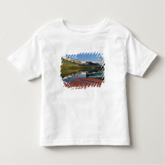 Boats parked on the lakeshore of Maligne Lake, Toddler T-shirt