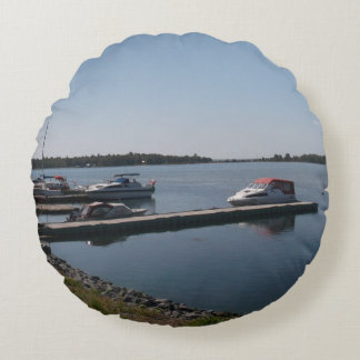 Boats Round Pillow
