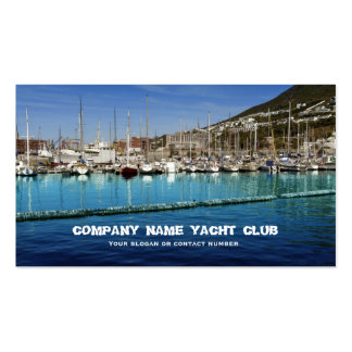 Boats sailing yacht club in harbor business business card template