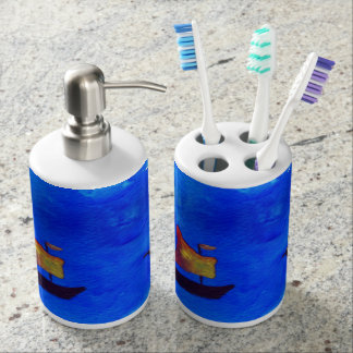 Boats  SeaToothbrush Holder and Soap Dispenser Set