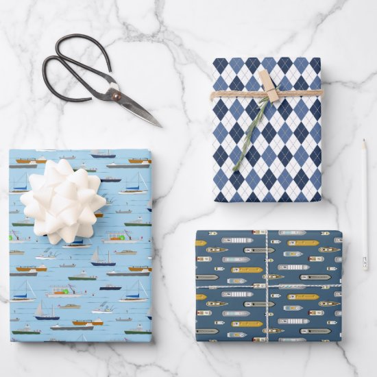 Boats ships sailboats On the River w argyle Wrapping Paper Sheets