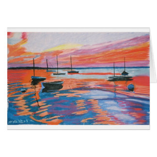 boats & sunset greeting card