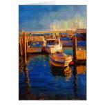 Boats, Sunset, Morro Bay, California Greeting Card