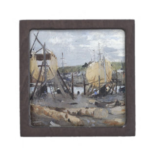 Boats under Construction by Berthe Morisot Jewelry Box
