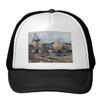Boats under Construction by Berthe Morisot Trucker Hat