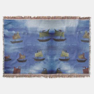 Boats watercolor Blue Sea Throw Blanket
