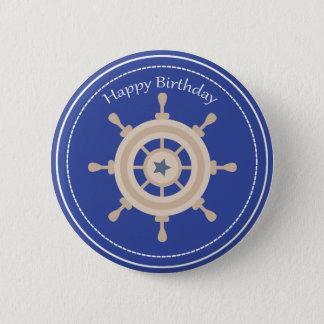 Boats Wheel Nautical Happy Birthday Button