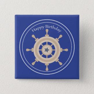 Boats Wheel Nautical Happy Birthday Square Button