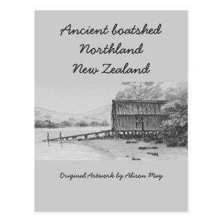 Boatshed antiguo, tierra del norte, Nueva Zelanda Postal