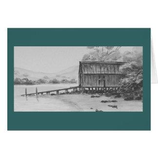 Boatshed antiguo, tierra del norte, Nueva Zelanda Tarjeta De Felicitación