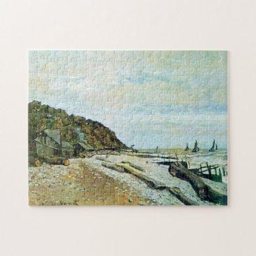 Beach Themed Boatyard Near Honfleur Monet Fine Art Jigsaw Puzzle