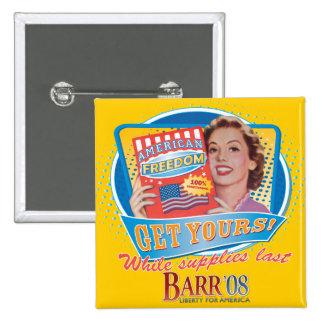 Bob Barr para presidente Vintage Button Pin Cuadrada 5 Cm