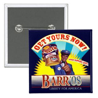 Bob Barr para presidente Vintage Button Pin Cuadrado