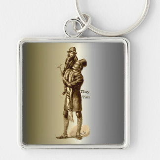 Bob Cratchit and Tiny Tim Christmas Carol Silver-Colored Square Keychain