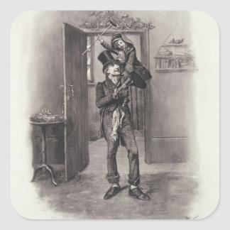 Bob Cratchit and Tiny Tim, from 'Charles Dickens: Square Sticker