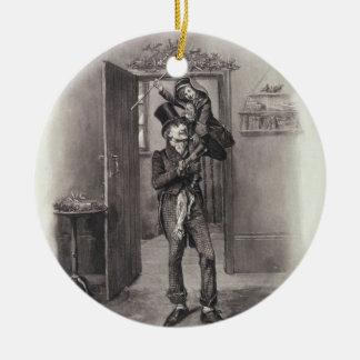 Bob Cratchit y Tim minúsculo, de 'Charles Dickens: Adorno Navideño Redondo De Cerámica