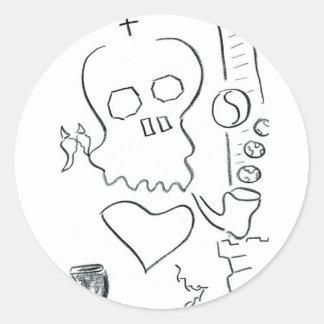 Bob Dobbs Skull Classic Round Sticker