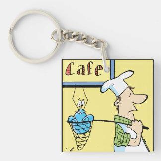 Bob el Special del café de los cangrejos Llavero Cuadrado Acrílico A Una Cara