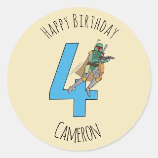 Boba Fett - Happy Fourth Birthday Classic Round Sticker