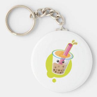Boba Tea Basic Round Button Keychain