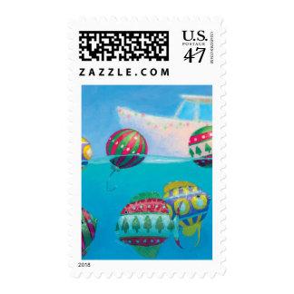 Bobber Fish Bulbs Christmas postage stamp