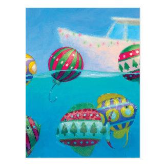 Bobber Fish Bulbs Christmas postcard