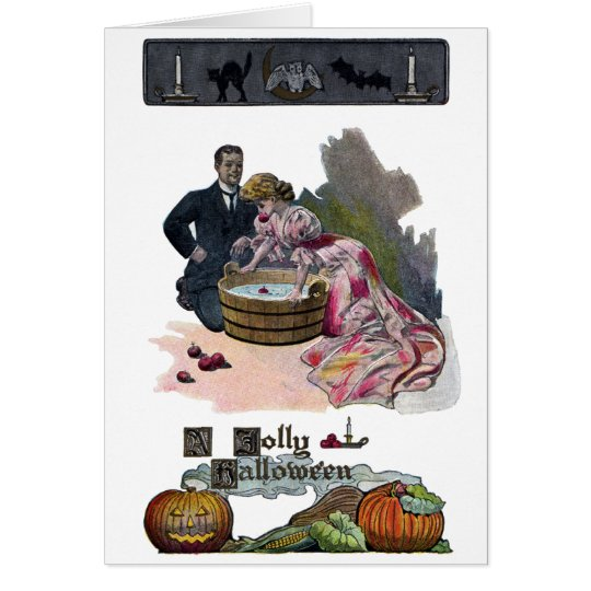 Bobbing for Apples on Halloween Card