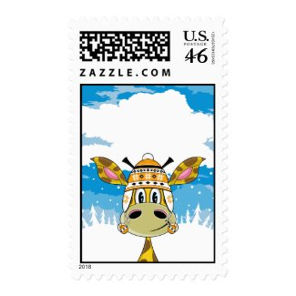 Bobble Hat Giraffe Stamp stamp