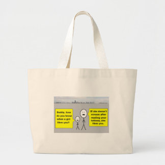 Bobby and Daddy - romantic advice Large Tote Bag