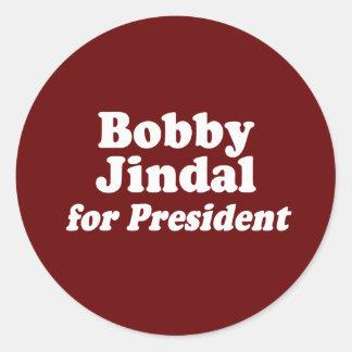 BOBBY JINDAL PARA EL PRESIDENTE 2 PEGATINAS REDONDAS