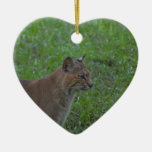 Bobcat Double-Sided Heart Ceramic Christmas Ornament