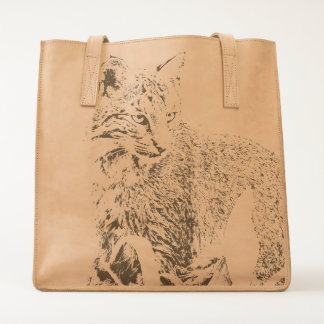 Bobcat Portrait Leather Tote
