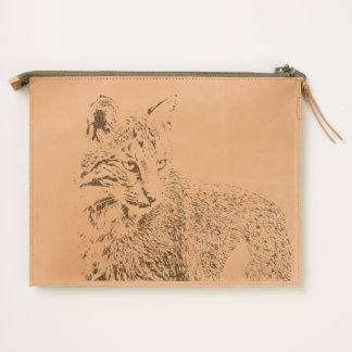 Bobcat Portrait Leather Travel Pouch