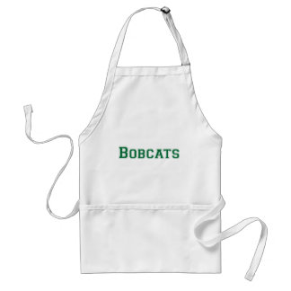 Bobcats square logo in green adult apron