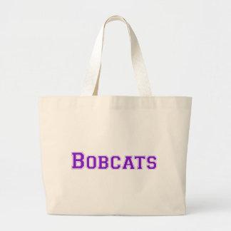 Bobcats square logo in purple canvas bags