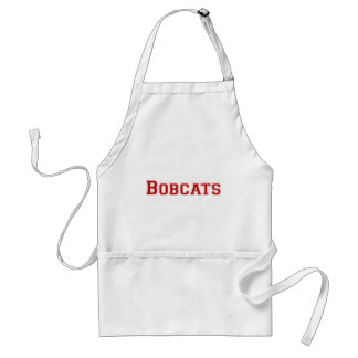 Bobcats square logo in red adult apron