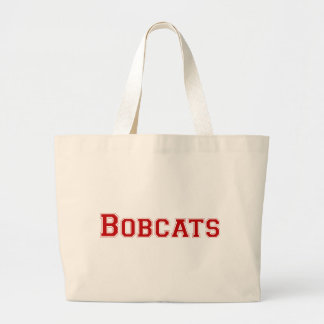 Bobcats square logo in red bags