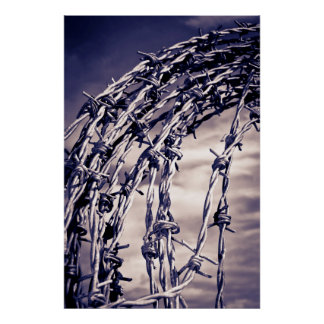 bobina del alambre de púas entonado azul póster
