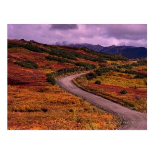 Bobina del camino a través de las colinas en el na postales