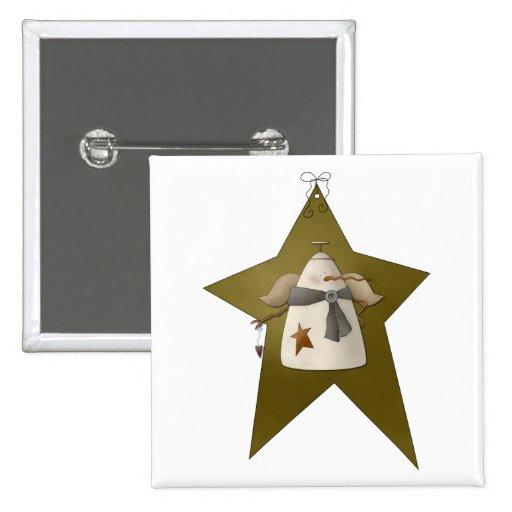 Bobinas de la nieve · Snowangel y estrella Pin Cuadrada 5 Cm