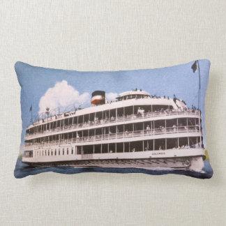Boblo Boat Columbia Vintage Great Lakes Throw Pillows
