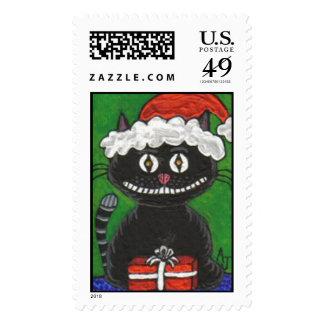 Bobo el gato negro del navidad - sello del día de