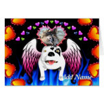 Bobo el perro de diablo hace ángel felicitaciones