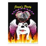 Bobo el perro de diablo hace ángel invitación 12,7 x 17,8 cm
