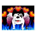 Bobo el perro de diablo hace ángel tarjeta postal
