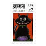 BOBO the BLACK CAT & SKULL COLLAR Halloween stamp