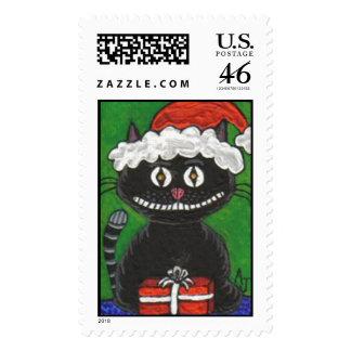 BoBo the Black Christmas Cat - Holiday Stamp
