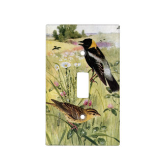 Bobolinks, Daisies and Pink Clover Light Switch Cover