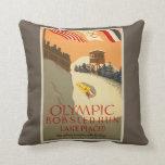 Bobsled Run, Lake Placid 1932 Throw Pillows