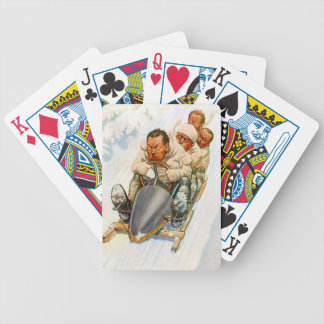 Bobsledding Sledding Vintage Winter Fun Cards Deck Bicycle Playing Cards